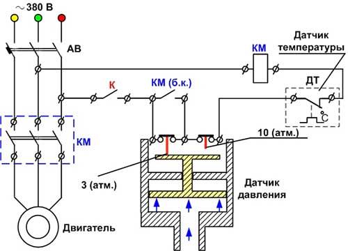 Электрические схемы соединения воздушного компрессора