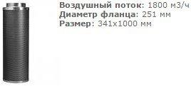 Угольный фильтр 2500 м3, 250/1000 мм